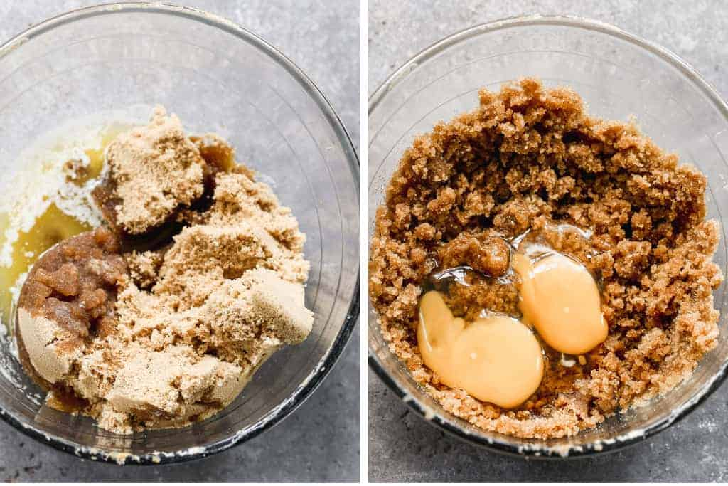 Two process photos for mixing melted butter and brown sugar, then adding eggs and vanilla.