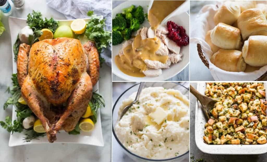 A five image collage of a Thanksgiving menu including turkey, gravy, mashed potatoes, stuffing, and rolls.
