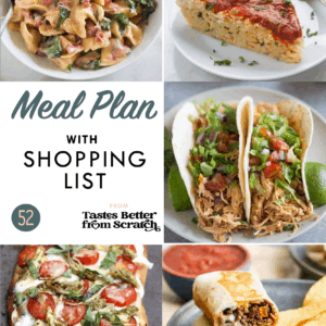 A collage of dinner images comprising a weekly meal plan.