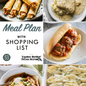 A collate of dinner recipe images comprising a weekly meal plan.