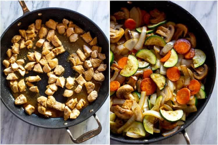 A skillet with cooked chicken pieces next to another skillet with stir-fry vegetables and chicken.