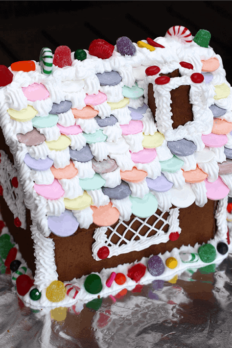 The side profile of a homemade gingerbread house