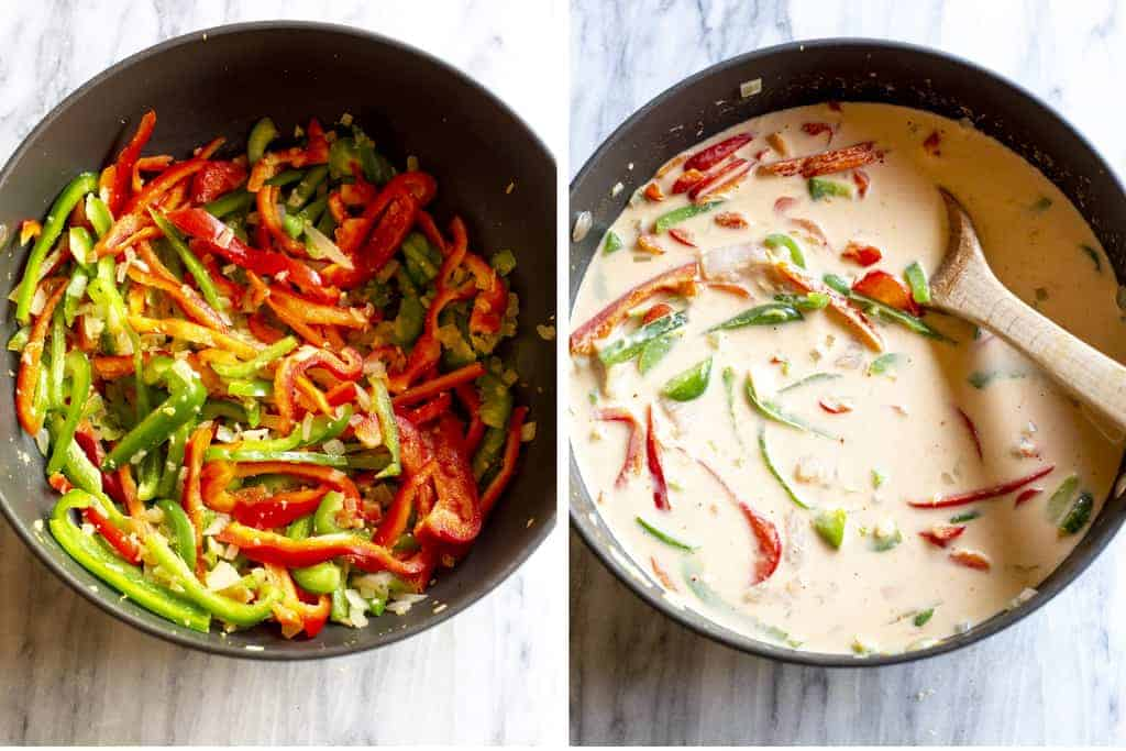 Slices of red and green bell pepper in a skillet and then coconut milk added.