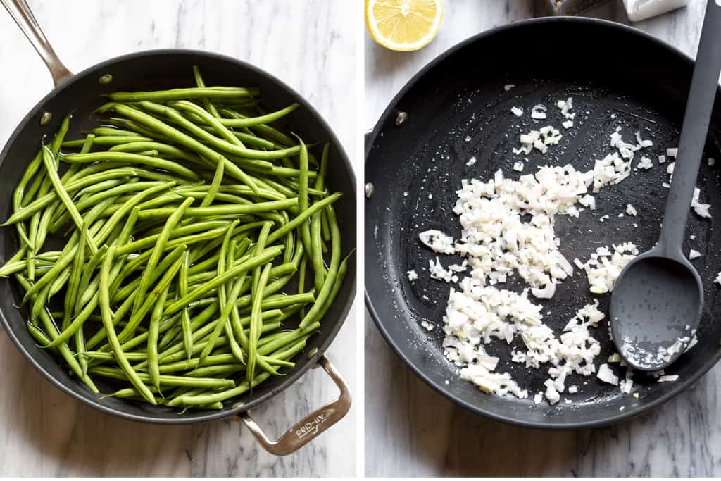 Green beans in a skillet with water, next to a skillet with chopped shallots.