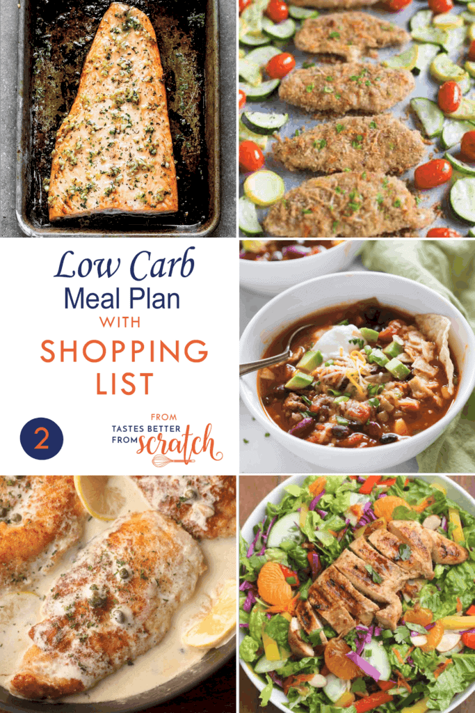 Collage of 5 Low Carb dinner recipes to make up a meal plan