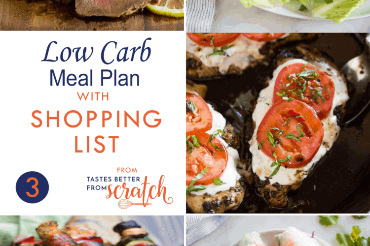 Collage of 5 dinner images for a low carb meal plan.