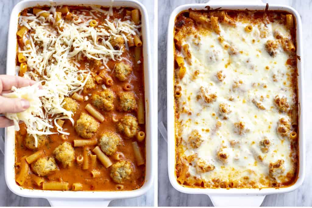 Cooked meatballs pasta casserole with cheese sprinkled on top and then baked.