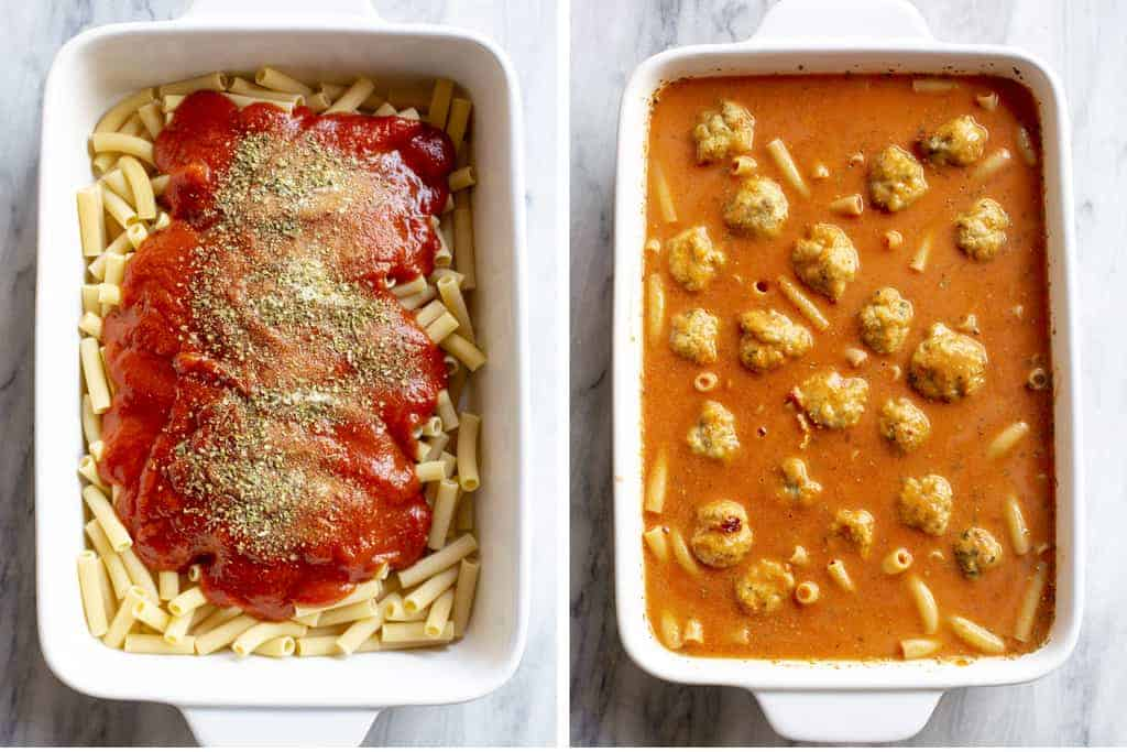 Side by side photos of a casserole dish with uncooked pasta, sauce and spices, then water and meatballs added.