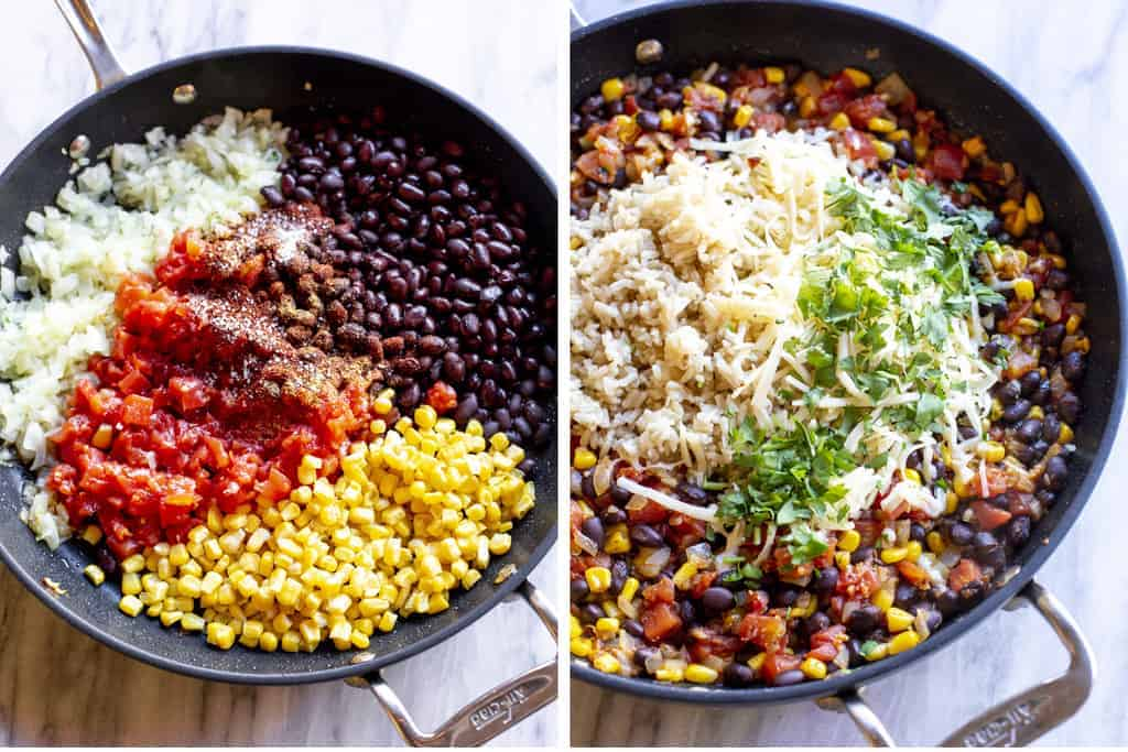 Corn, black beans, rice, diced tomatoes and spices and another photo rice added to the skillet.