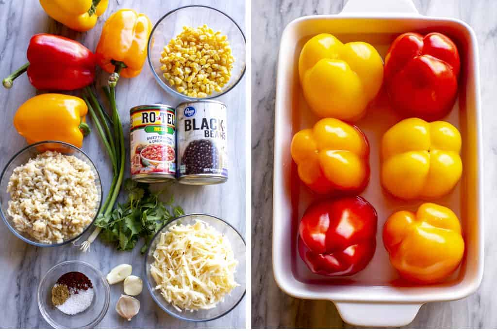 All of the ingredients needed for vegetarian stuffed peppers, next to a dish with face-down peppers in water.