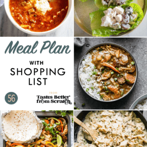 A collage of 5 dinner recipe images comprising a weekly meal plan.
