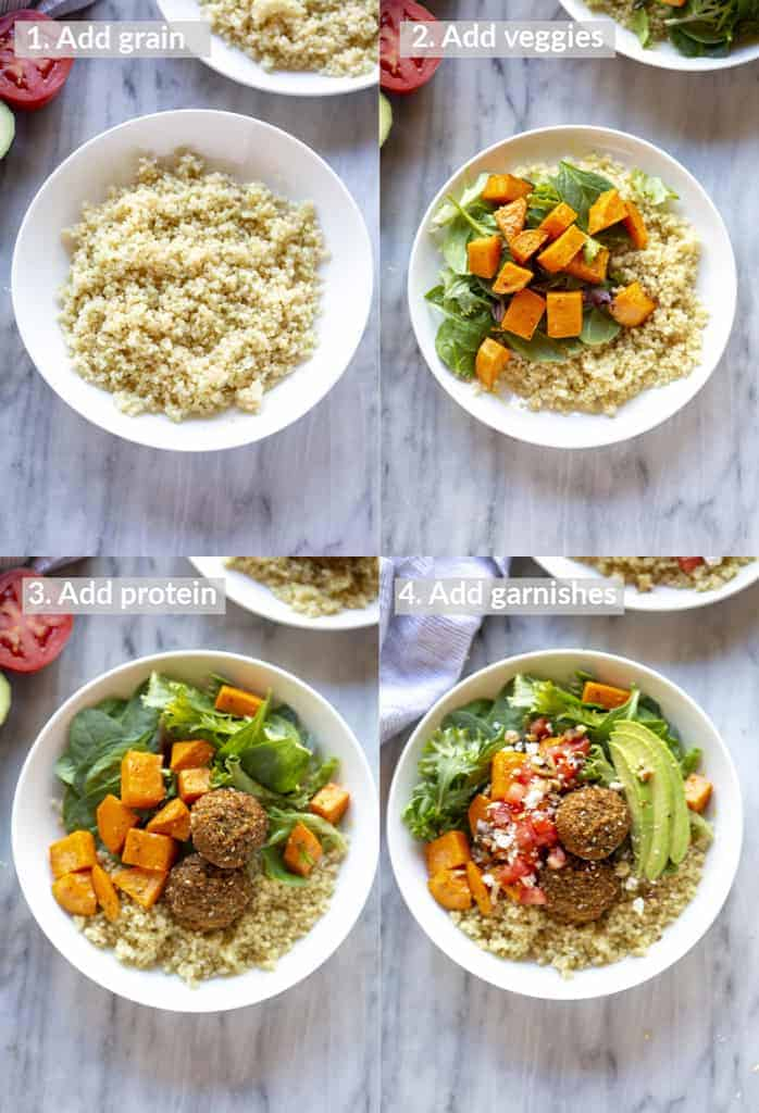 Four process photos for layering a buddha bowl with grains, veggies, protein and sauce.