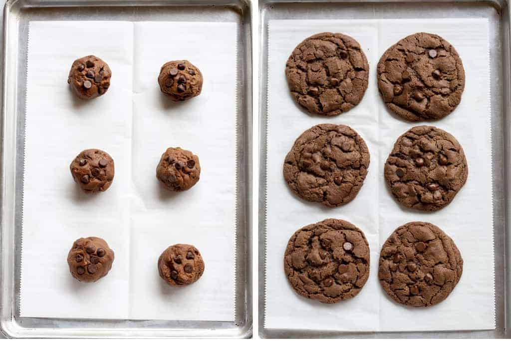 Before and after process photos of chocolate cookie dough on a tray, baked into cookies.