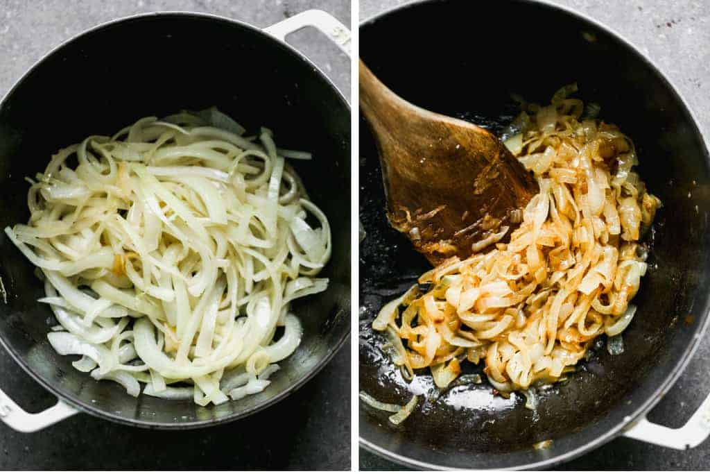 Before and after photos of caramelized onions in skillet.