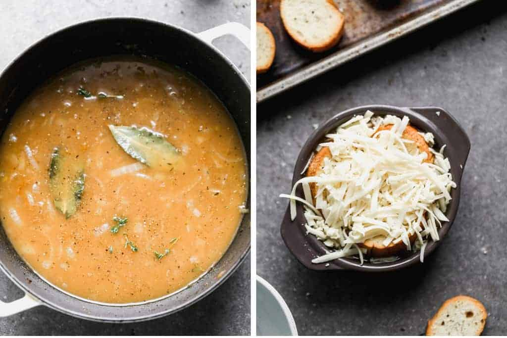 A pot of french onion soup next to a bowl with soup topped with bread and shredded cheese.