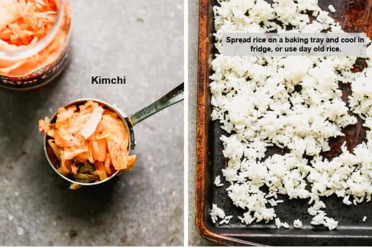 A measuring spoon full of kimchi and a baking sheet with cold white rice.