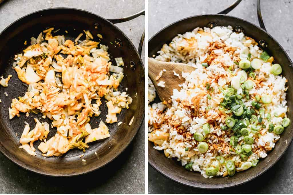 Two process photos for making kimchi fried rice.