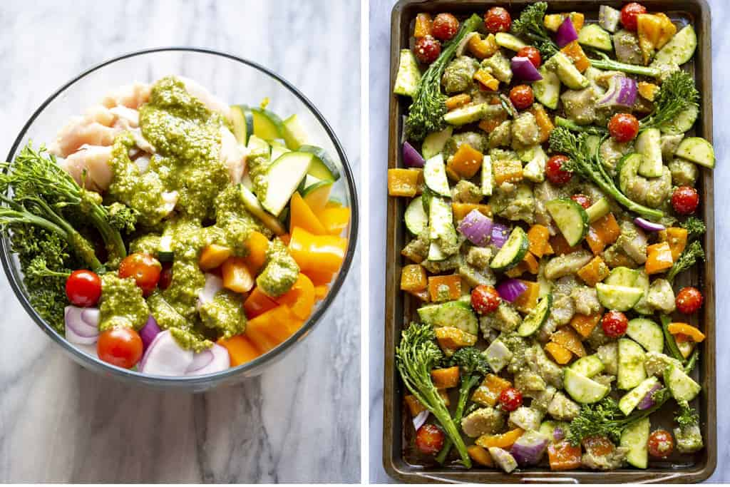 Chopped vegetables and chicken in a bowl with pesto sauce, and then poured onto a baking tray.