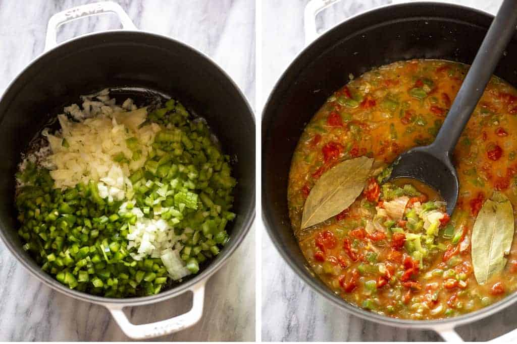 Two process photos for making Shrimp Creole in a white cast iron pot.