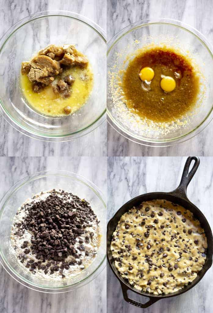 Four process photos for making chocolate chip cookie dough and then pressing it into a cast iron skillet.