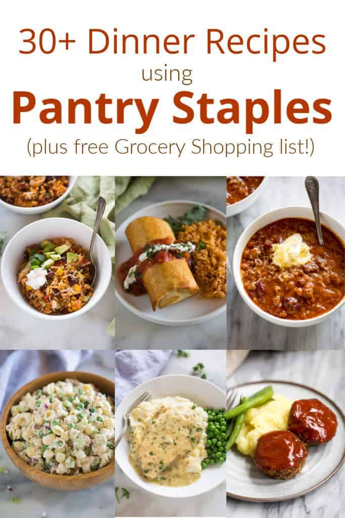 pantry recipes    grocery shopping list