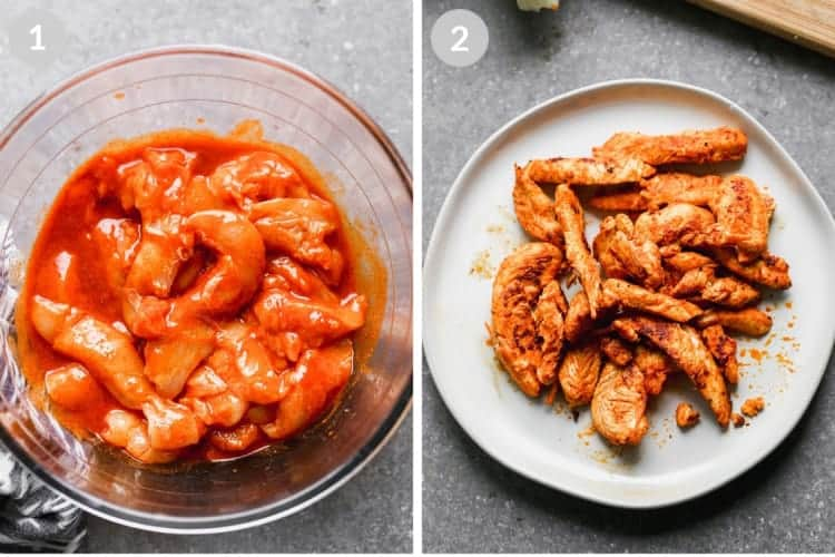 A bowl of sliced chicken in buffalo sauce next to a plate of cooked buffalo chicken.