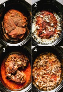 Four process photos for seasoning, cooking and shredding carnitas pork in a slow cooker.
