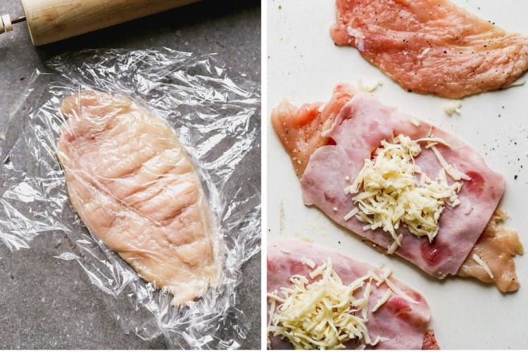 A chicken breast half in in plastic wrap, pounded thin, then topped with ham and Swiss cheese.