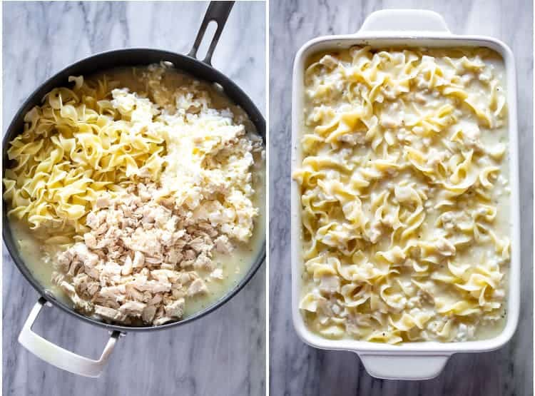 Two process photos for making chicken noodle casserole.