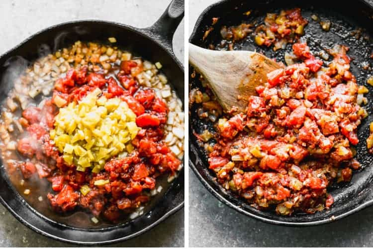 Two process photos for making salsa ranchera in a cast iron skillet.