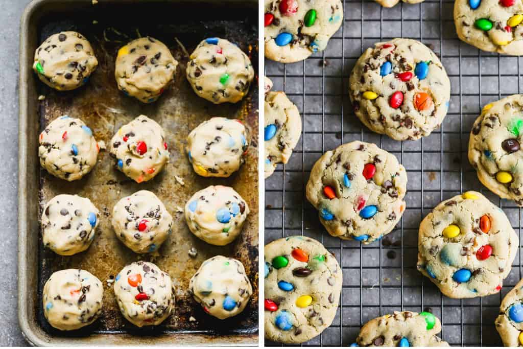 Scooped cookie dough balls on a baking tray next to baked M&M cookies cooling on a rack.