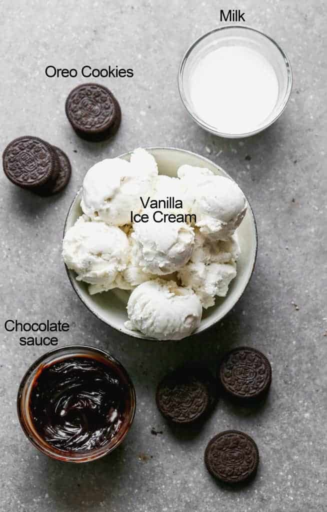 The ingredients needed to make Oreo Milkshakes.
