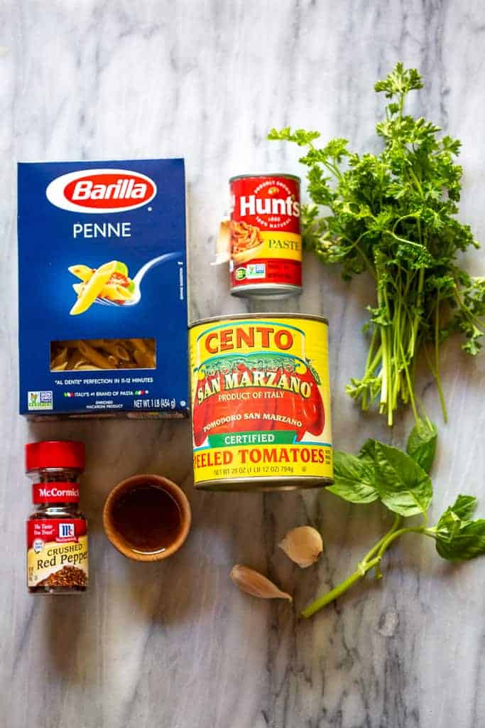 The ingredients needed to make Penne Arrabbiata.