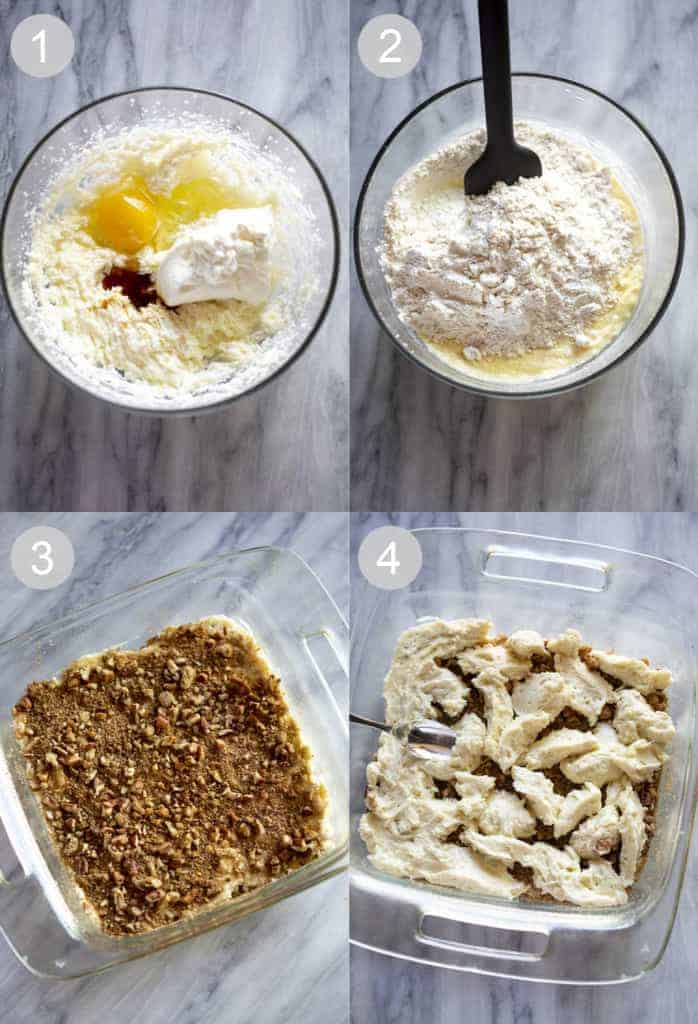 Four process photos for making sour cream coffee cake.