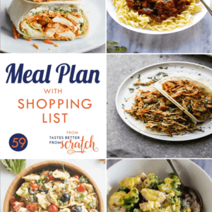 Weekly meal plan with 5 dinner recipes images.