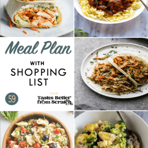 A collage of dinner recipe images that comprise a weekly meal plan.