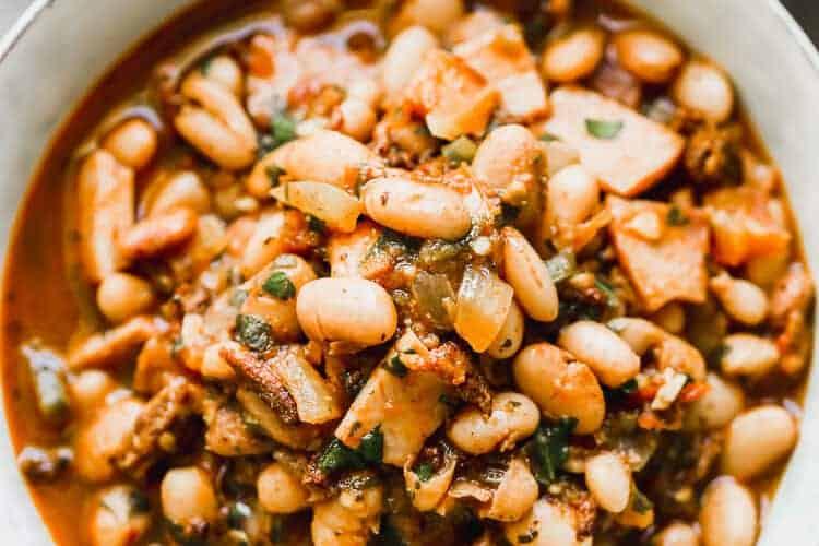 Borracho Beans served in a bowl.
