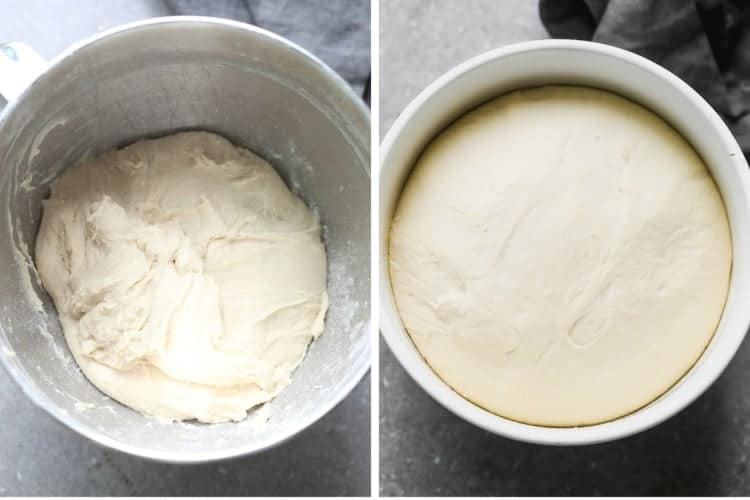Two process photos for breadstick dough rising in a bowl.