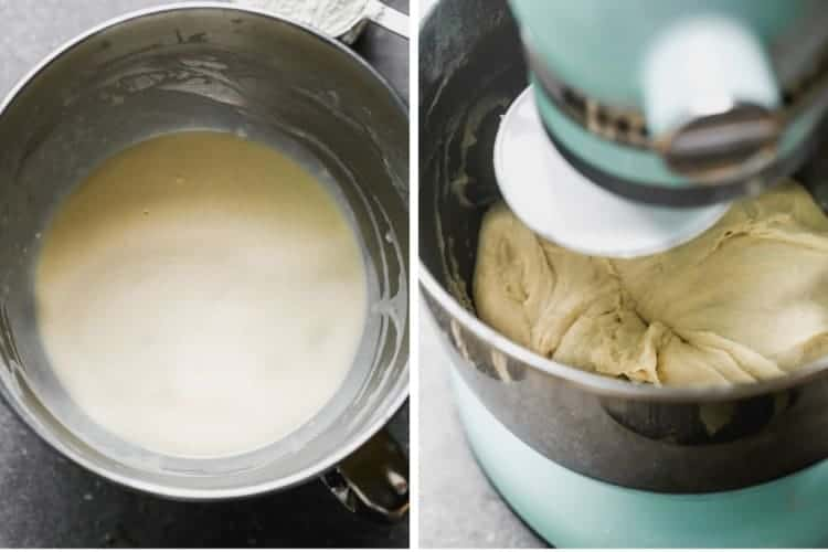 A bowl with proofing yeast next to a mixer kneading breadstick dough.