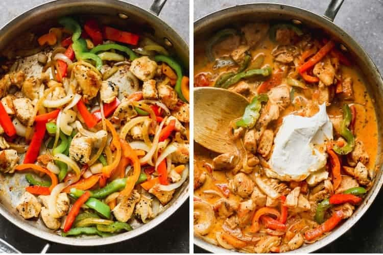 Chicken and bell peppers sautéing in a skillet and then sauce and cream cheese added.