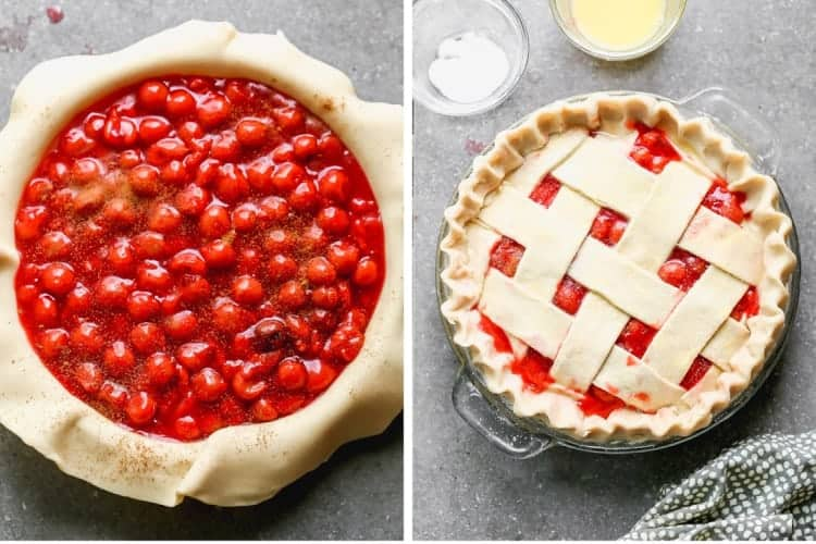 Two process photos for adding cherry pie filling and then a lattice crust to a pie dish.