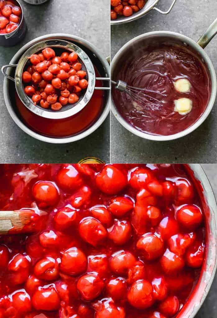 Three process photos for making cherry pie filling using canned cherries.