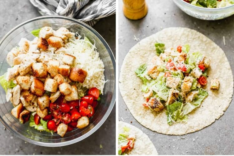 Two process photos for making Chicken Caesar Wraps.