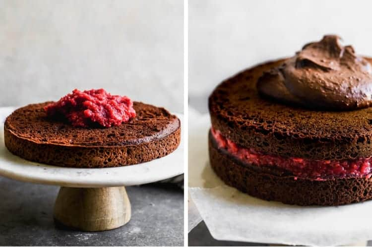 Two process photos for filling and stacking a chocolate cake with raspberry filling.