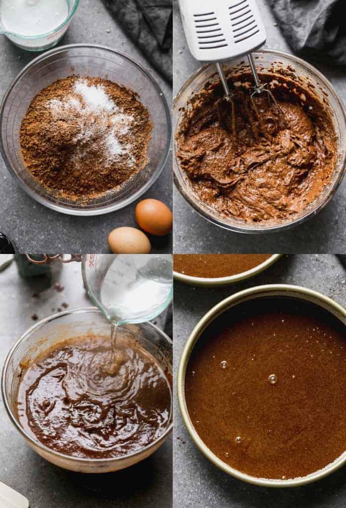 Four process photos for making homemade chocolate cake.