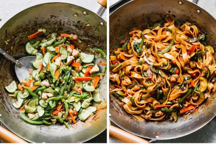 A wok with sautéed vegetables, then rice noodles and sauce added to the pan.