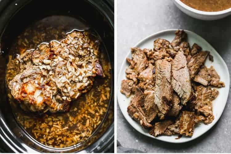 Slow cooker with cooked beef roast in it, and a plate with sliced pieces of roast.