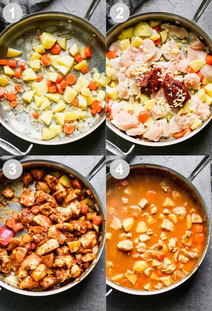 Four process photos for making Massaman Curry.
