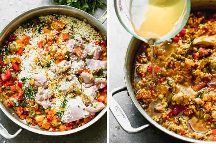 A skillet with sautéing vegetables, chicken and rice, then broth added to make paella.