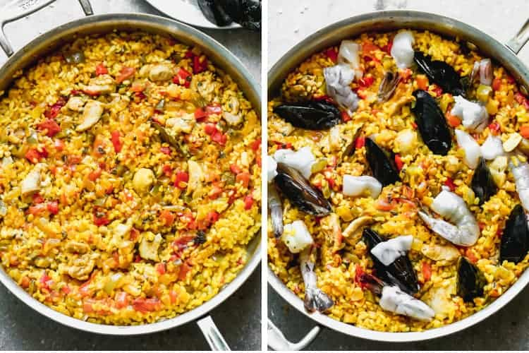 Paella rice cooking in a pan, then mussels, shrimp and calamari added.